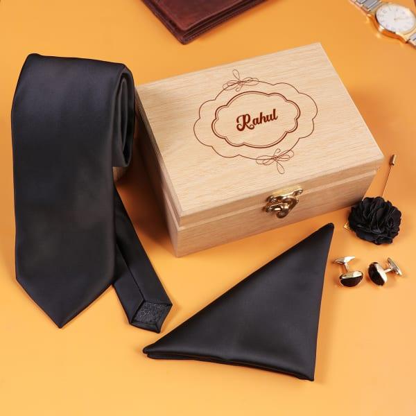 Men's Accessory Set in Personalized Box - Black