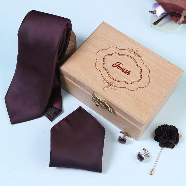 Men's Accessory Set in Personalized Box - Wine