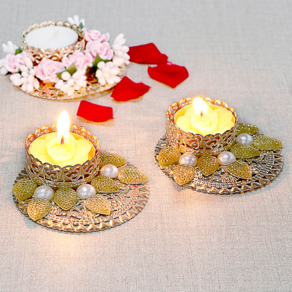 Metal Tea-light Candles with Pearl Work