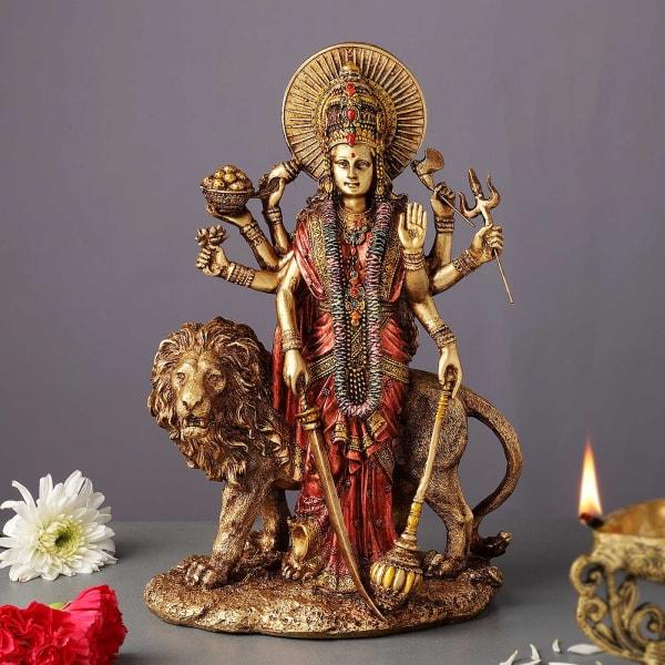 Metal Toned Standing Durga Maa Idol