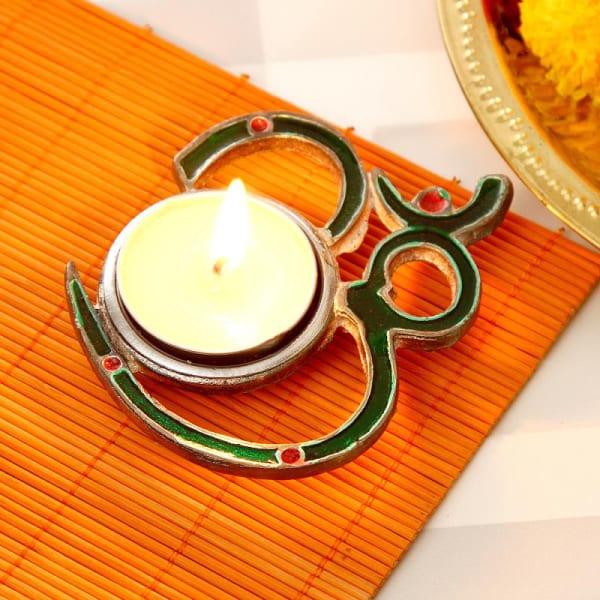 Metallic Om Tea Light Candle Holder 4 inches