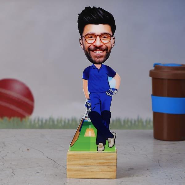 MI Cricket Fan Personalized Caricature Stand