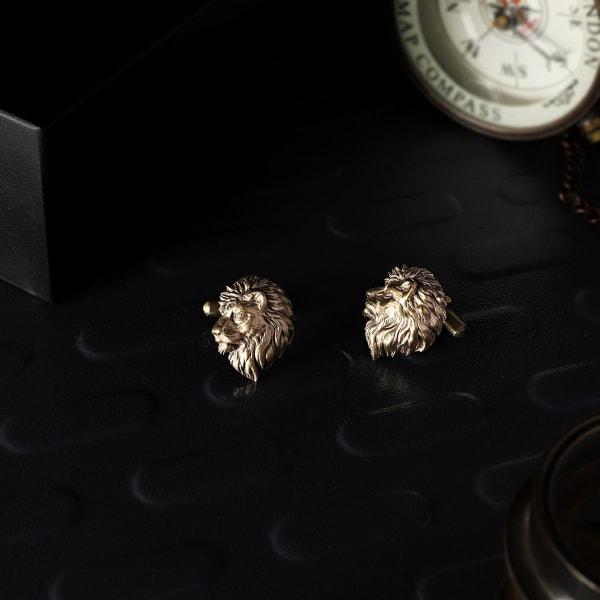 Mighty Lion Head Brass Cufflinks For Men