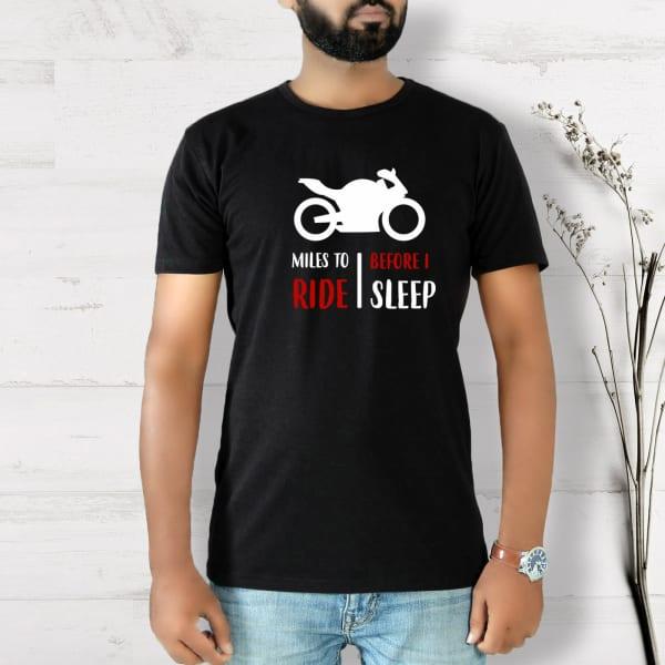 Miles to Ride Half Sleeve Men's T-Shirt - Black