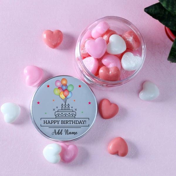 Mini Heart Soaps in Happy Birthday Personalized Jar (30 Pcs)