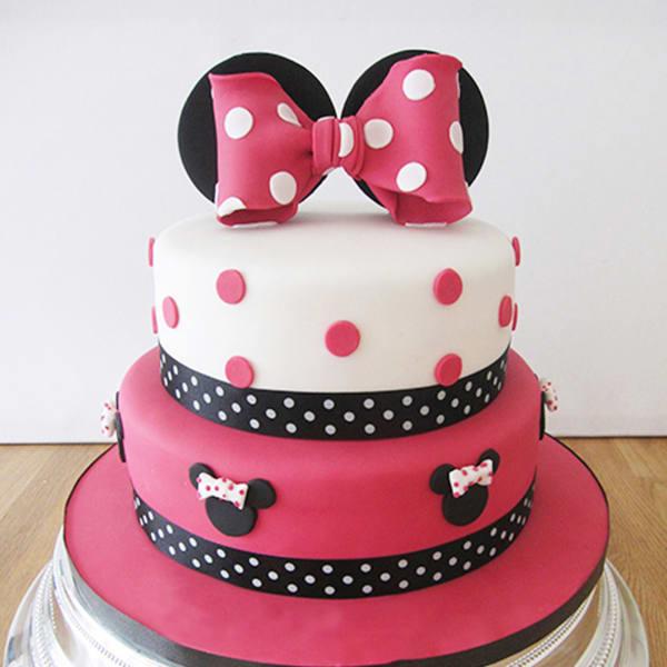 Minnie Mouse 2 Tier Birthday Fondant Cake (5 Kg)