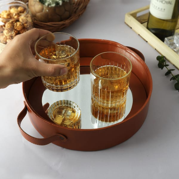 Mirrored Round Tray With Whiskey Glasses (Set of 2)