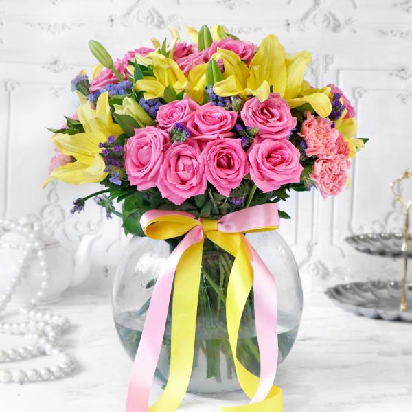 Mix Flowers in Globe Vase
