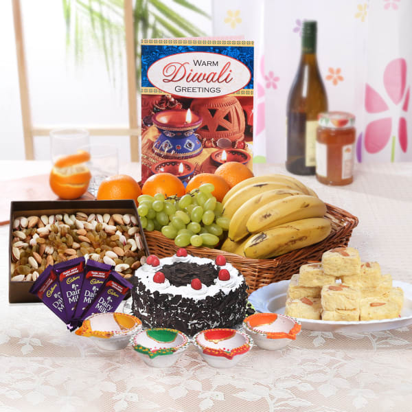 Mixed Fruit Basket With Dry Fruits & Sweets Hamper