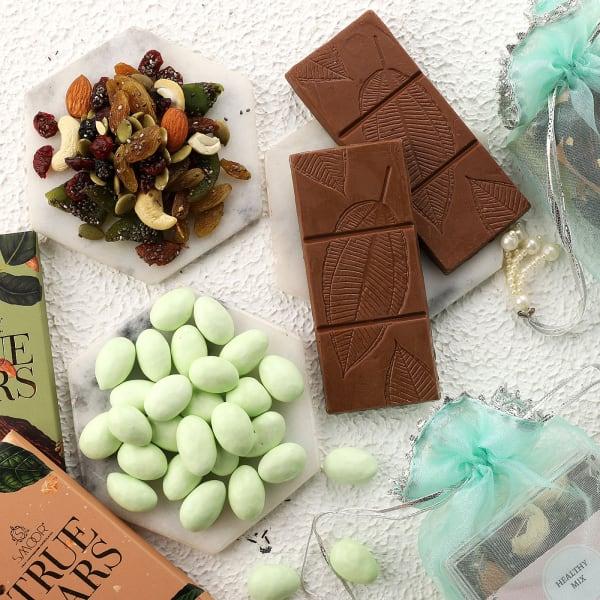 Mixed Nuts And Chocolates Gift Potlis