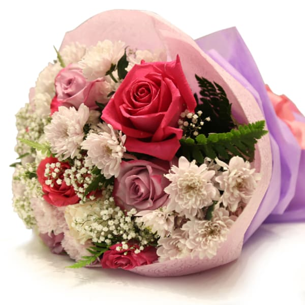 Mixed Purple & Pink Roses Bouquet