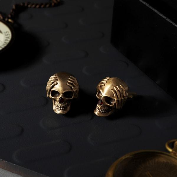 Modern Skull Brass Cufflinks For Men