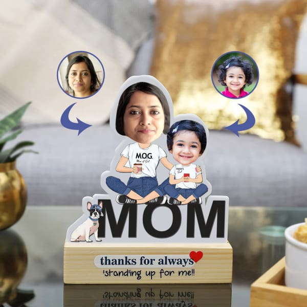 Mom Of Girl Personalized Caricature Stand