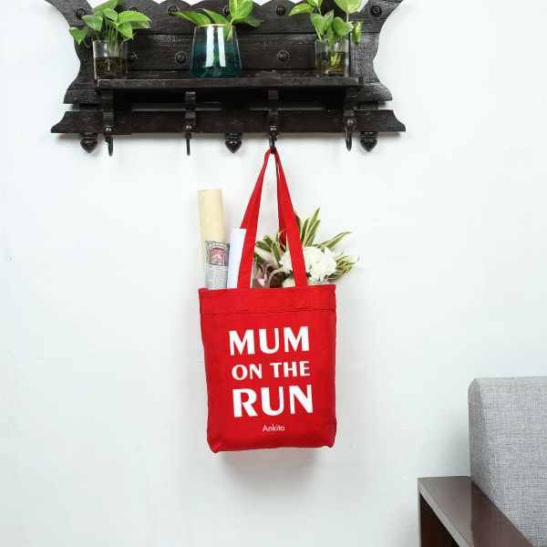 Mom On The Run Red Shopping Bag
