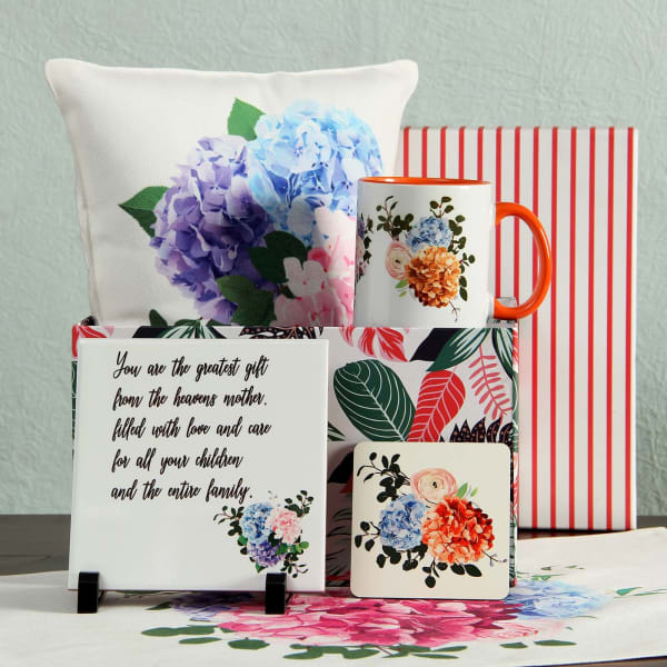 Mom Quote Ceramic Tile with Floral Design Coaster, Mug & Cushion in Gift Box