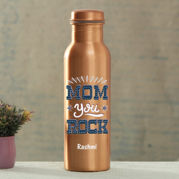 Mom You Rock Personalized Copper Bottle