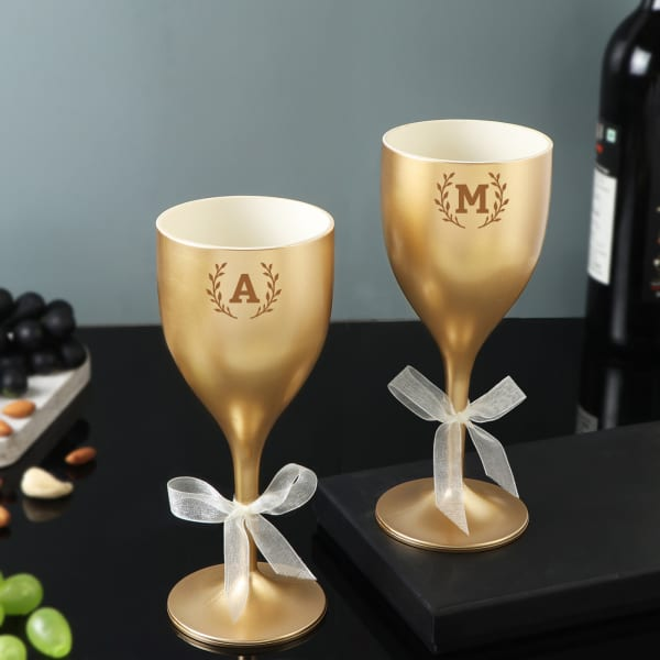 Monogrammed Personalized Unbreakable Wine Glasses Set
