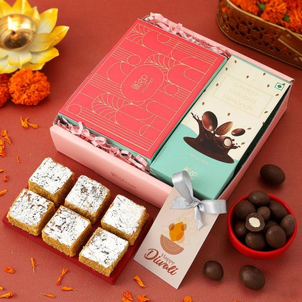 Moong Dal Barfi And Chocolates Diwali Gift Tray