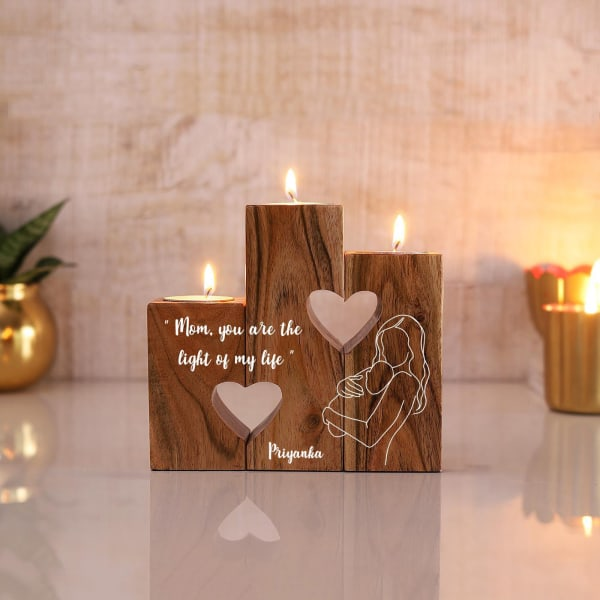 Mother's Day Personalized Wooden T-Light Stand
