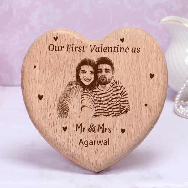 Mr. & Mrs. Personalized Engraved Wooden Photo Frame