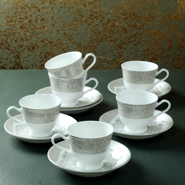 Mughal Art Designed Set of 6 Cups with Saucers