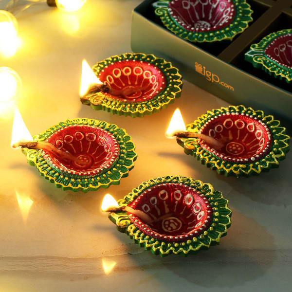 Multi Colored Hand Painted Clay Diya (Set of 4)