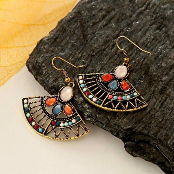 Multi colored Stone Studded Metal Earrings