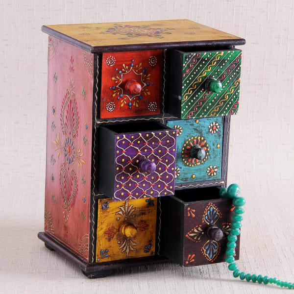 Quirky Gifts Happy Home Decor Now Online In India: Multicolor Wooden Jewellery Box: Gift/Send Home And Living