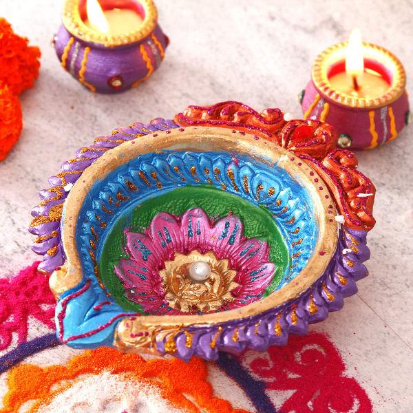 Multicolored Painted Clay Diya