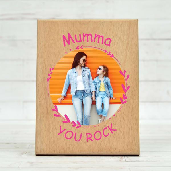 Mumma You Rock Personalized Wooden Photo Frame