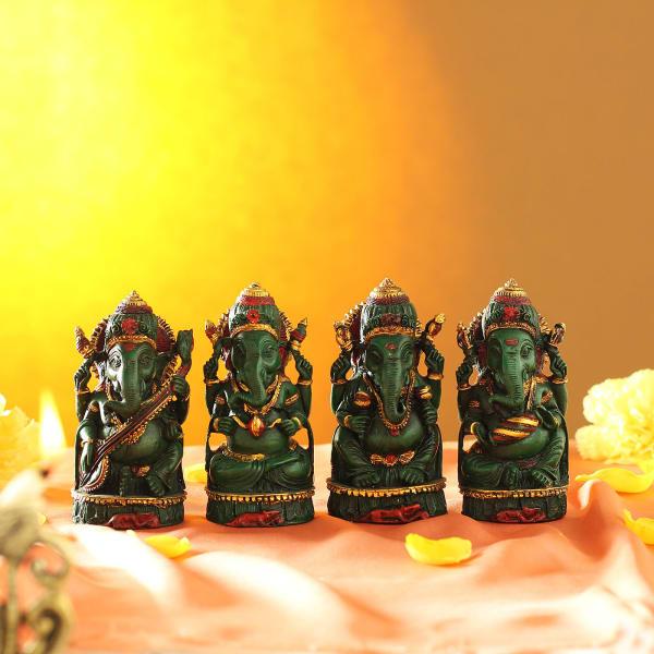 Musical Ganesha Idols Home Decor (Set of 4)