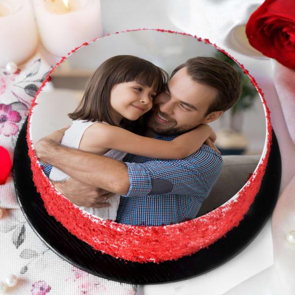 My Dad My Hero Photo Printed Red Velvet Cake (Half Kg)