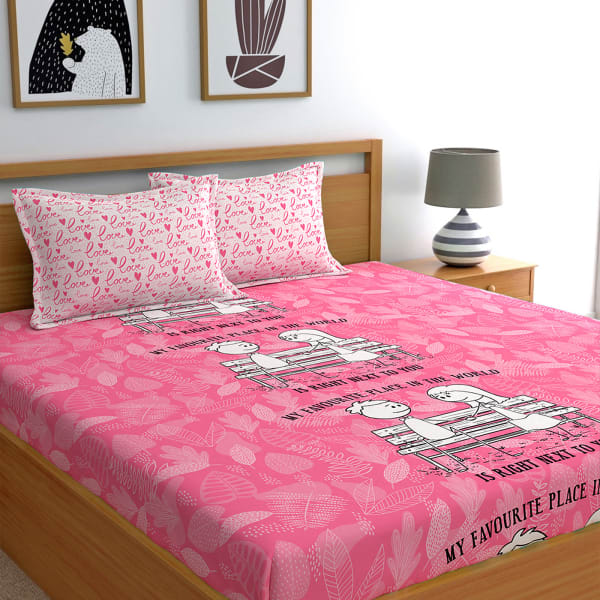 My Favourite Place Pink Cotton Bedsheet with Pillow Covers.
