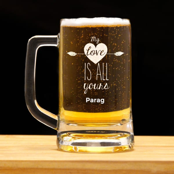 My Love is All Yours Personalized Beer Mug