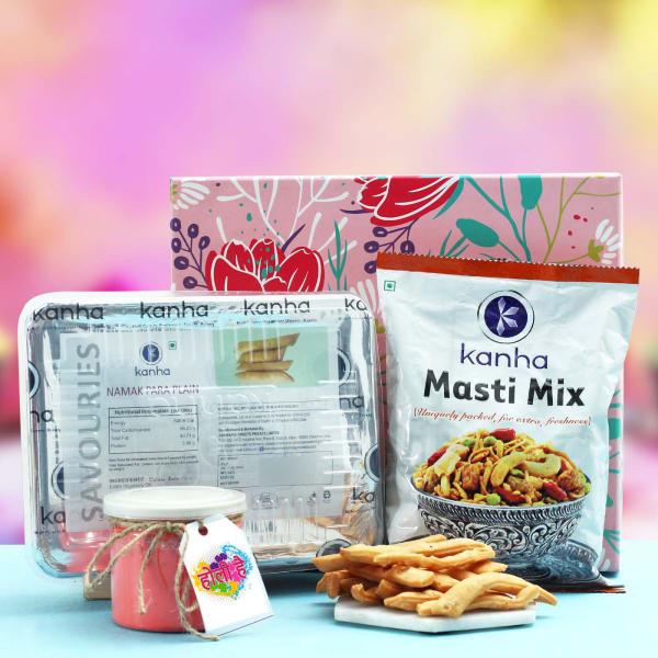 Namak Para & Masti Mix with Gulal in Gift Box