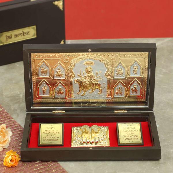 Nav Durga Gold & Silver Plated Charan Paduka in Box