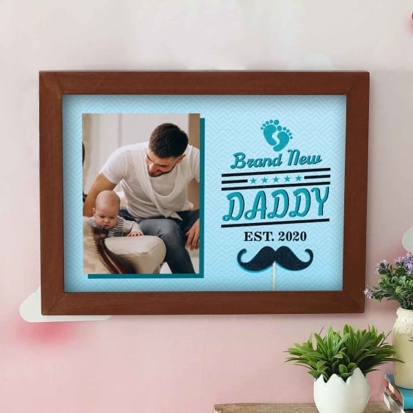 New Daddy Personalized Wooden Photo Frame