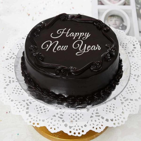New Year 2kg Round Shape Chocolate Cake