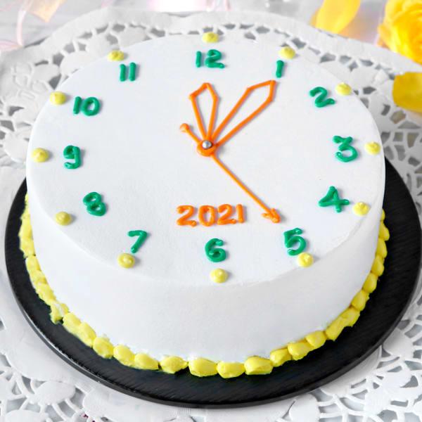 New Year Clock Vanilla Cake (Half Kg)