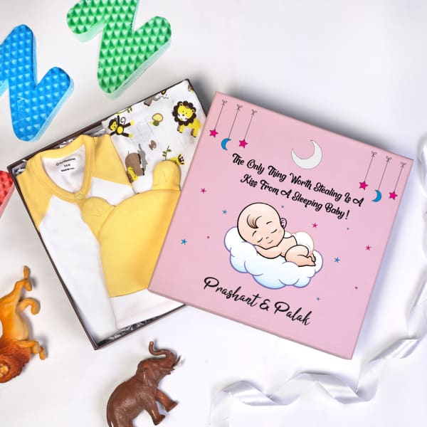 Night Time Apparels Gift Set for Newborn in Personalized Box (3 Pcs)