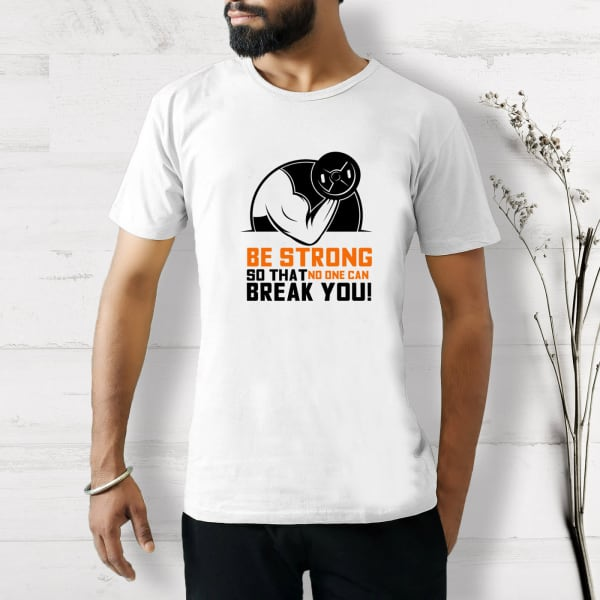 No One Can Break You Half Sleeve Men's T-Shirt - White
