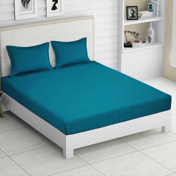 Ocean Cotton Striped Double Bedsheet