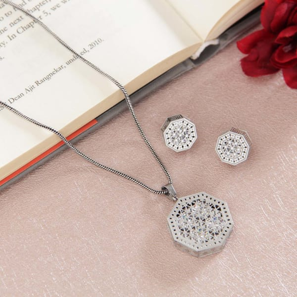 Octagonal Jaali Work Silver Plated Pendant Set with CZ Stones