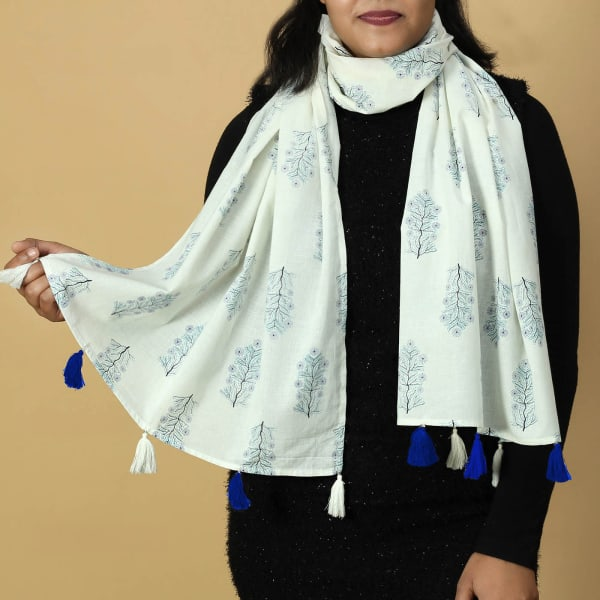 Off White Cotton Stole with Block Prints and Tassels