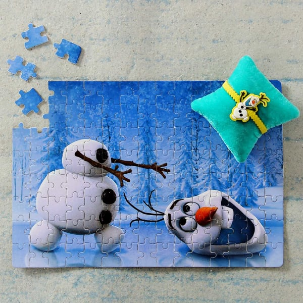 Olaf Kids Rakhi with A4 Size Paper Puzzle