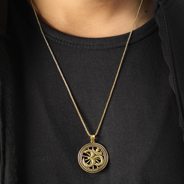 Om Engraved Oxidised Gold Finish Men's Pendant
