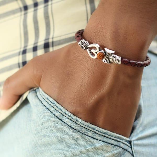 Om Engraved Rudraksha Oxidised Silver Finish Men's Bracelet