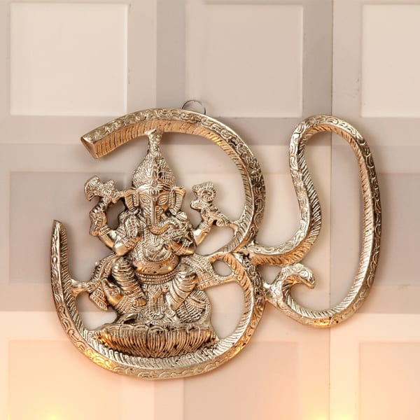 Om Ganesha Wall Hanging With Tikka Amp Dryfruits Gift Send