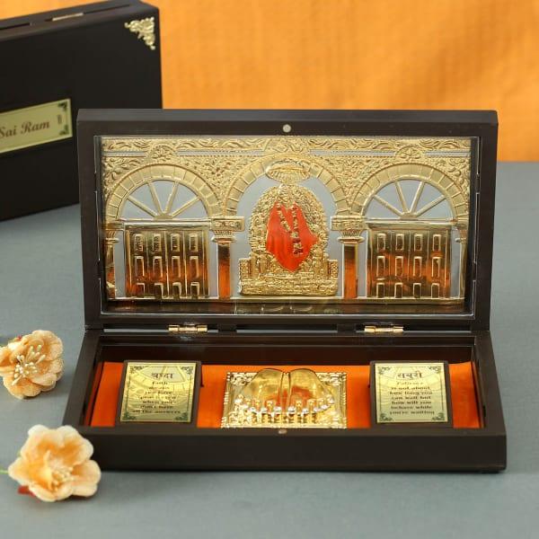 Om Sai Gold & Silver Plated Charan Paduka in Box