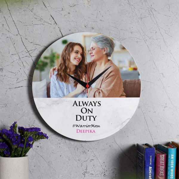 On Duty Personalized Wall Clock For Moms